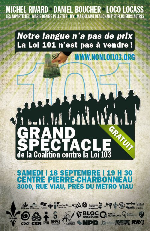 Grand spectacle de la coalition contre la loi 103