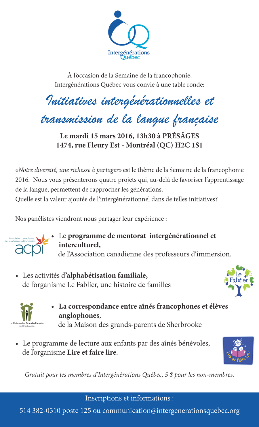Affiche Table ronde 15 mars